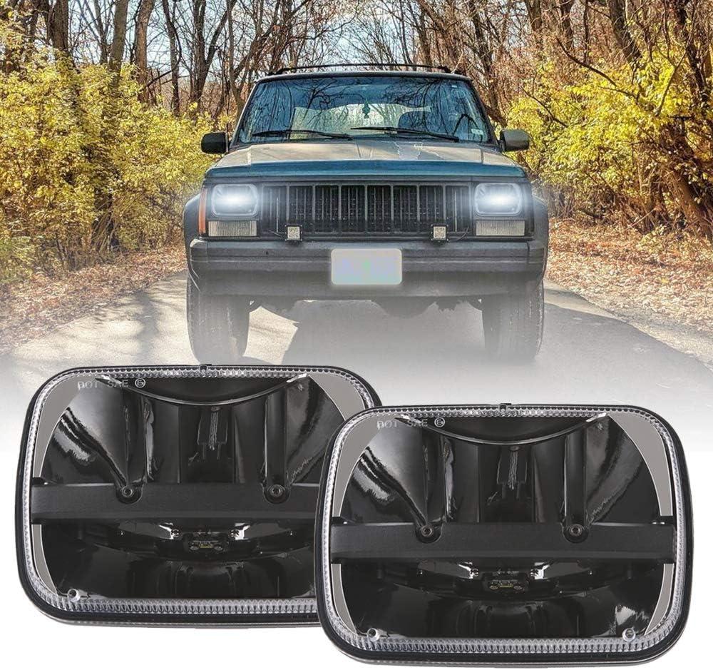 1 Pair 105W Rectangular 5x7/ 6x7 Inch Led Headlight High Low Beam Headlamp for Jeep Wrangler YJ Cherokee XJ Toyota pickup Trucks Replacement H6054 H5054 H6054LL 69822 6052 6053 (2 pcs) 71vO7HB5QvLSL1000_