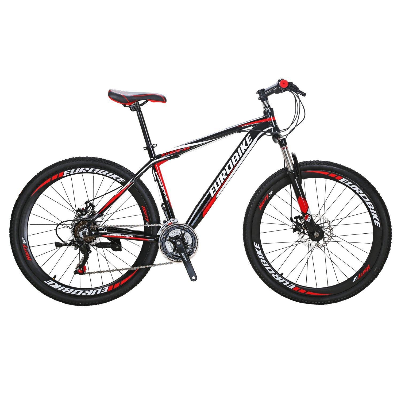 EUROBIKE マウンテンバイ アルミフレーム X1-GTR27.5*21段 ハードテイル MTB 前後ディスクブレーキ器 変速21速 超軽量 通勤 学習 乗ろう自転車 B0798D5W2F 黒/赤 黒/赤