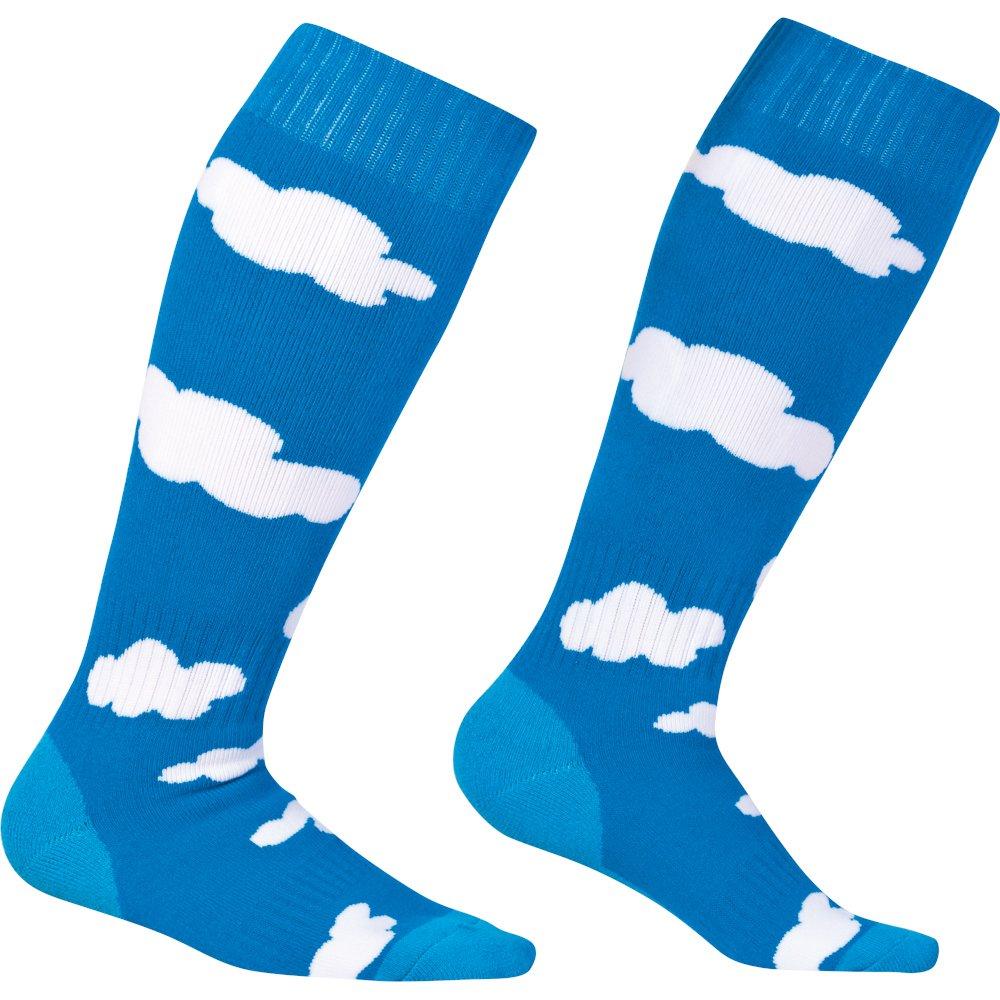 BavarianSky blau weiß Sionyx Snowboardsocke mit Himmel und Wolken Skisocke Sportsocke Kniestrumpf Funktionsstrumpf Damen Herren Unisex