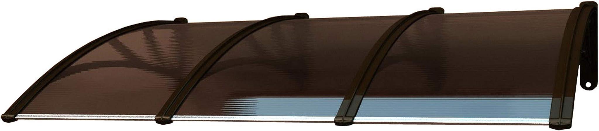 Outdoor PVC T/ür Vordach Terrasse Vorzelt Wasserdicht Unterschlupf Gro/ße Fenster Dach Vordach Braun Schatten Veranda Regenschutz 220x105 cm