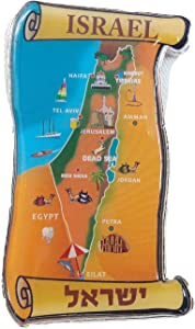 New Souvenir Fridge Magnet metal israel Map Holy-Land Jerusalem Tel Aviv Haifa