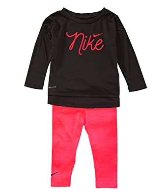 ee5e045e1 Nike Infant Girls 2 Piece Shirt and Pants Set Racer Pink/Black Size 12  Months