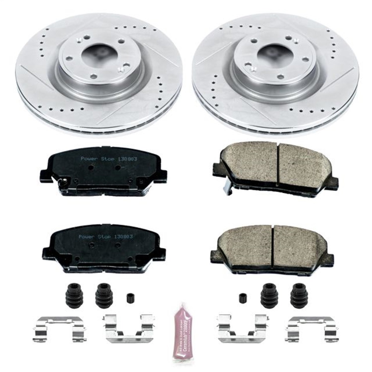 Power Stop K6169 Front Z23 Evolution Brake Kit with Drilled//Slotted Rotors and Ceramic Brake Pads