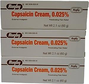 Rugby Capsaicin 0.025% Cream, 2.1 Ounce, 3 Count