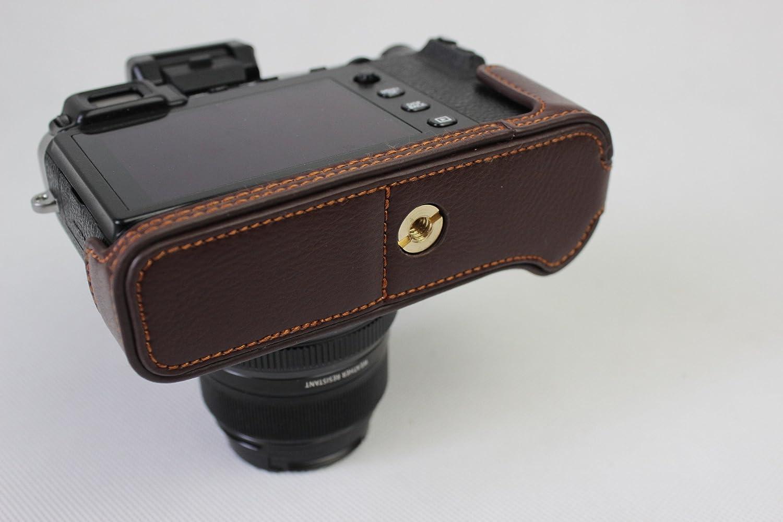 Hand Strap Black X-E3 Case BolinUS Handmade Genuine Real Leather Half Camera Case Bag Cover for Fujifilm Fuji X-E3 XE3 Camera Bottom Opening Version
