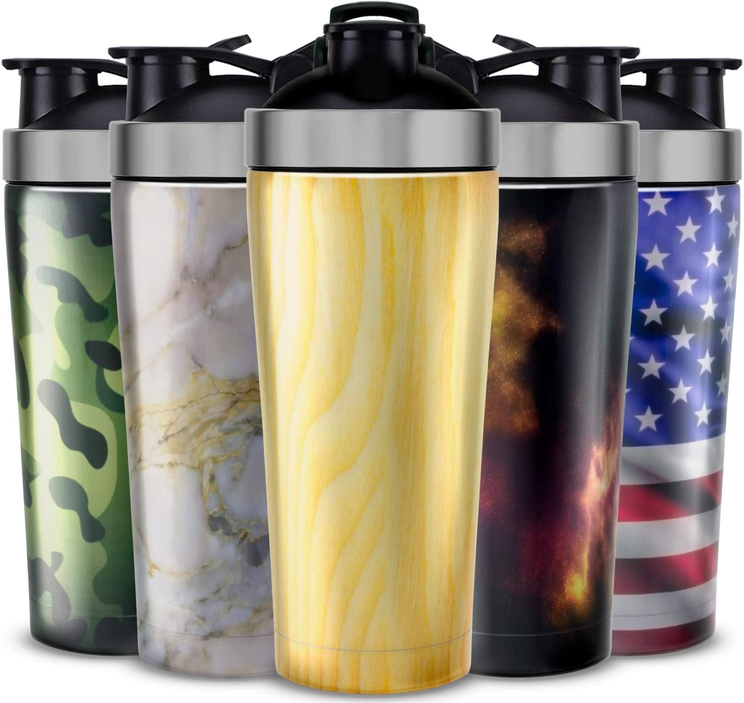 Stainless Steel Protein Shaker Bottle BPA Free - Vacuum Insulated Gym Shaker Cup for Meal Replacement Shakes - Leak Proof Metal Shaker Bottles for Protein Mixes - Steel Shaker Cups for Protein Shakes