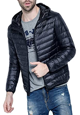 2603702ea Amazon.com: anxiety Classic Men's Hooded Packable Down Puffer Coat ...