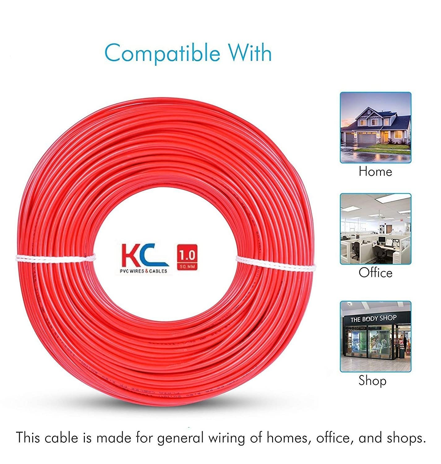 Kc Cab Copper Pvc Insulated Wire 90 M Coilred Home Wiring Wires Amazing Improvement