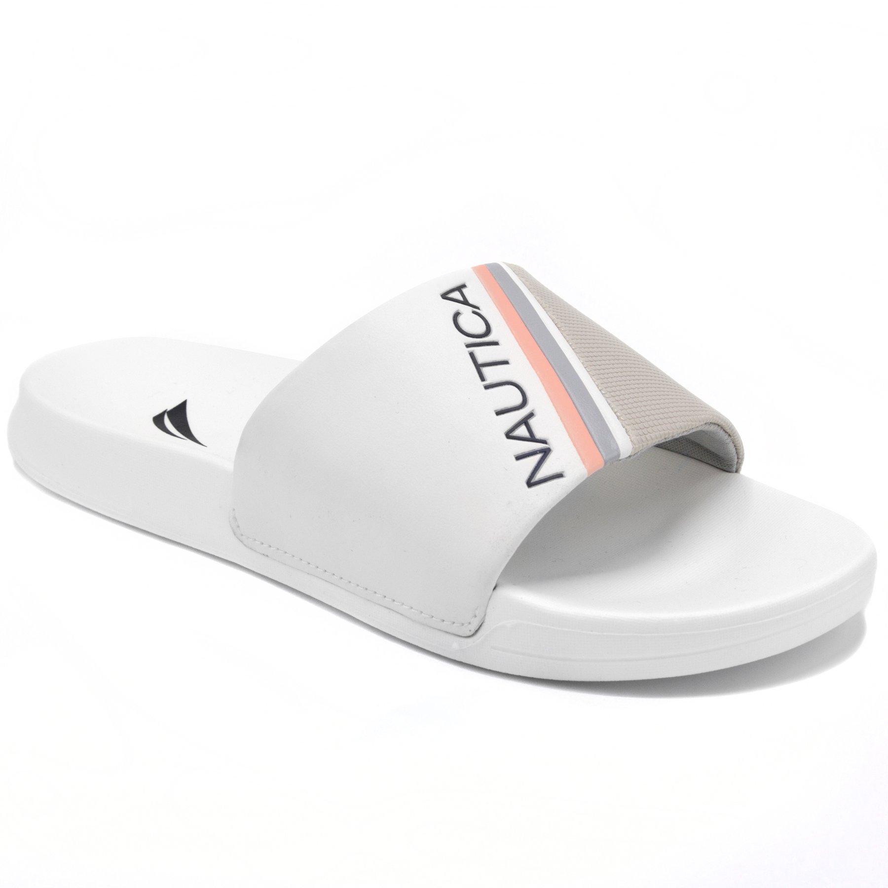 Nautica Women's Athletic Slide, Shower Shoe ,Beach Sandal, Boat Slide NORTON-GREY-6