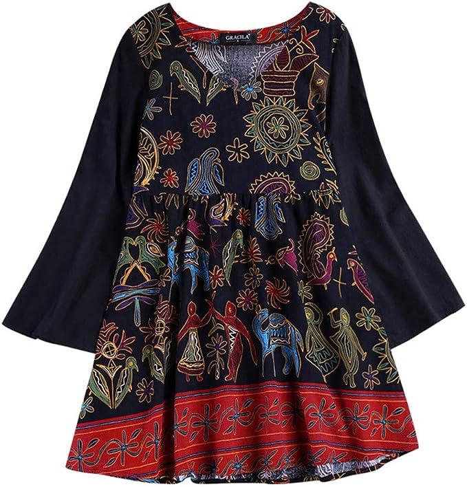 Proumy Camiseta Étnica de Mujer Blusa Floral con Manga Camisa ...