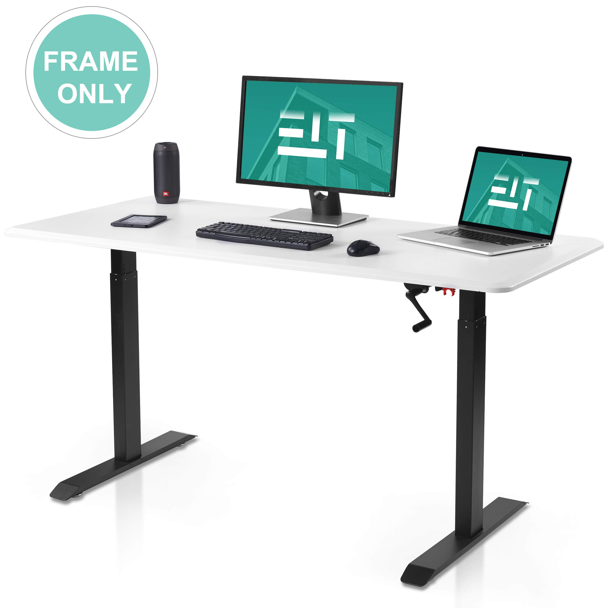 EleTab Manual Stand up Desk Frame - Height Adjustable Sit Stand Desk with Crank System Standing Workstation