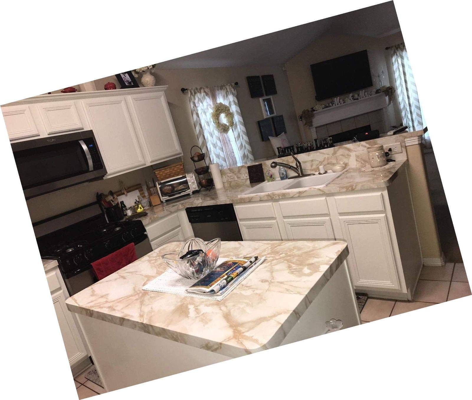EZ FAUX DECOR 36'' W x 240'' L Decorative Peel and Stick White Riviera Creme Brulee Faux Marble Self Adhesive Counter Top Vinyl Film Update NOT Grandma's Contact Paper by EZ FAUX DECOR (Image #9)