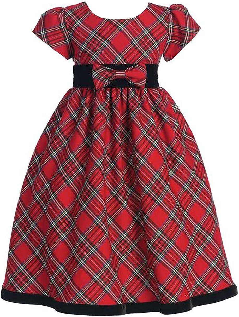 Lito Girls Holiday Christmas Years Plaid Dress