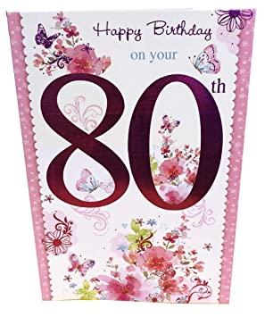 Happy 80th Birthday Card For Her Womens Ladies Female Poem Verse Luxury