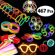 BUDI 200 Glow Sticks 467Pcs Glow Party Favors for Kids/Adults: 200 Glowsticks Party Packs 7 Colors & Connectors for Glow Neck