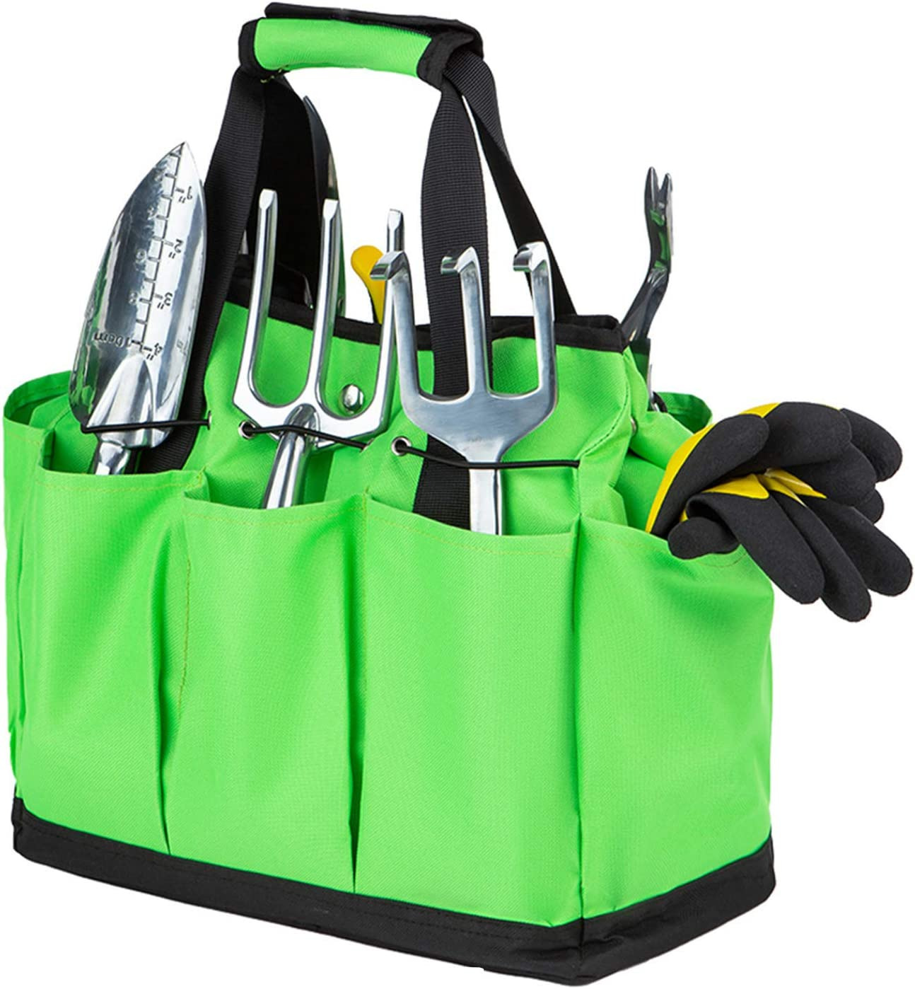Fragralley Self - Standing Garden Tool Bag, Heavy-Duty Gardening Pouch with 8 Pockets and Leather Handle, Gardening Tote Bag for Indoor and Outdoor (Tools NOT Included)