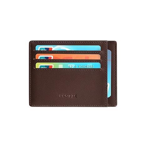 43b1e1e9c Cartera Pequeña de Cuero para Hombre - Tarjetero Billetera con RFID  Minimalista (Marrón): Amazon.es: Equipaje