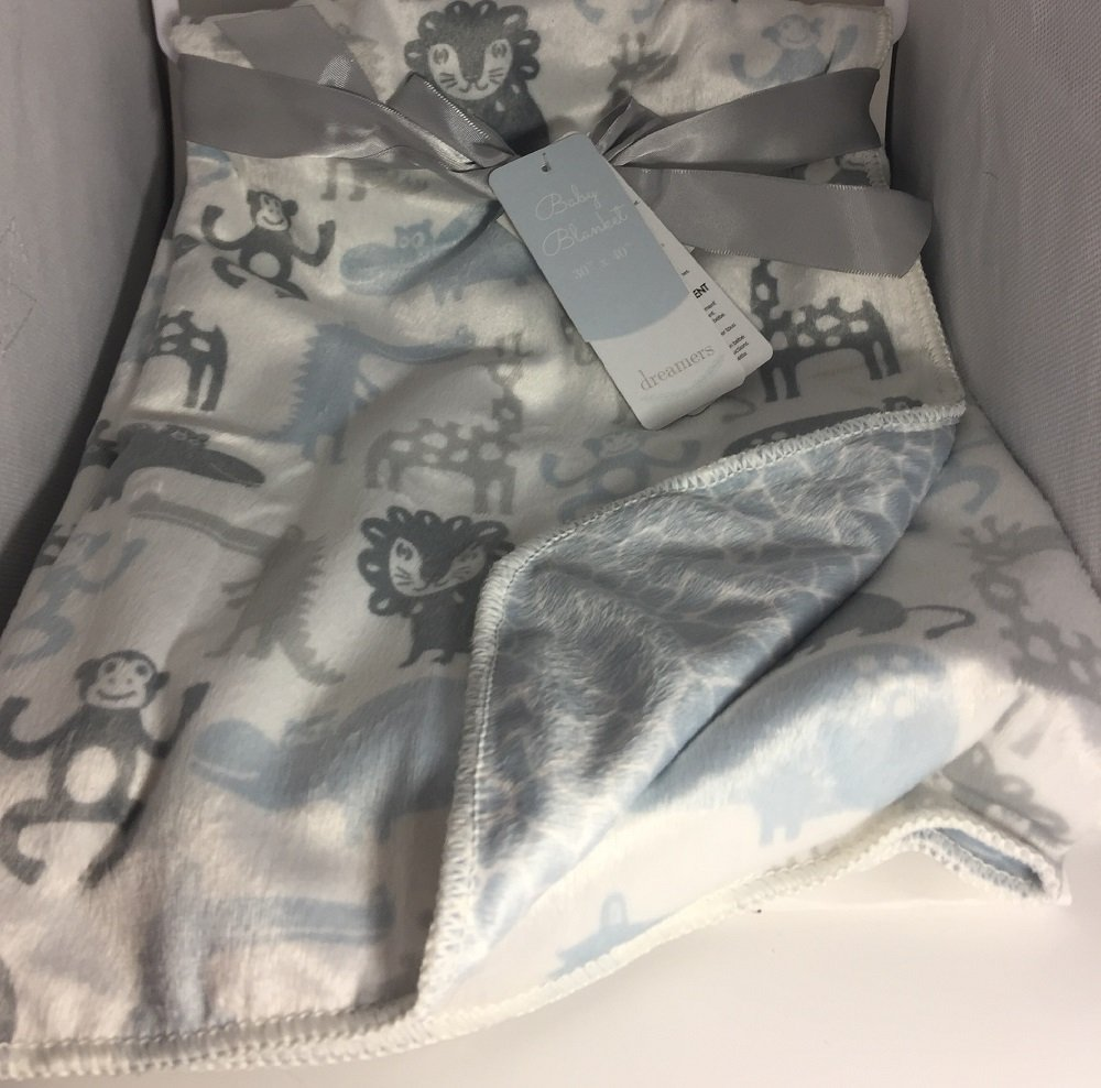 dreamers Plush Baby Blanket 30in X 40in - Reversible Jungle Baby Boy/Giraffe Print