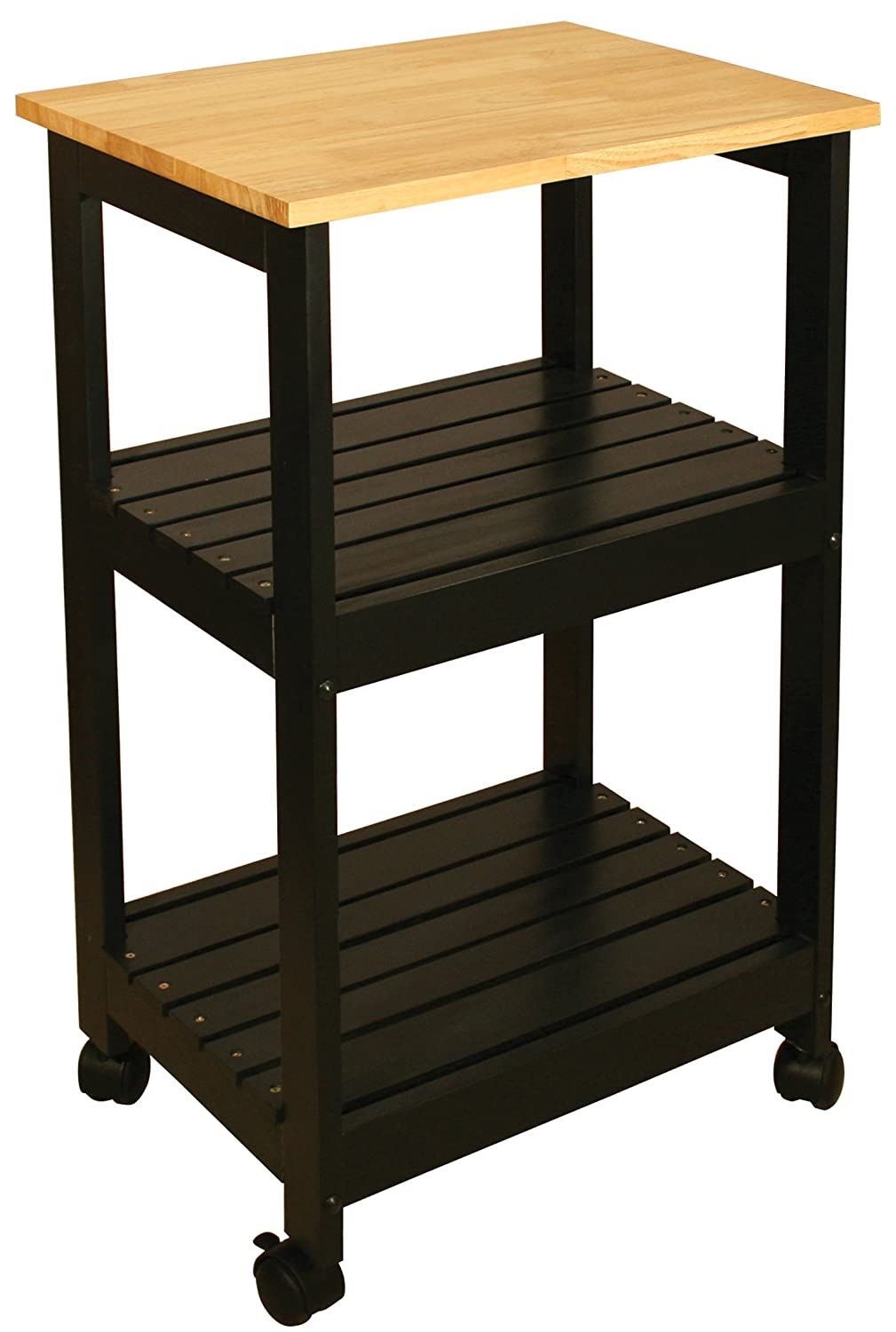 Amazon.com   Catskill Craftsmen Utility Kitchen Cart, Black Base Natural  Top   Bar U0026 Serving Carts