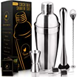 6 Pcs Stainless Steel 24oz Cocktail Shaker Set + Recipes Book - Easy to Clean Martini Shaker, Muddler, Mixing Spoon, Measurin