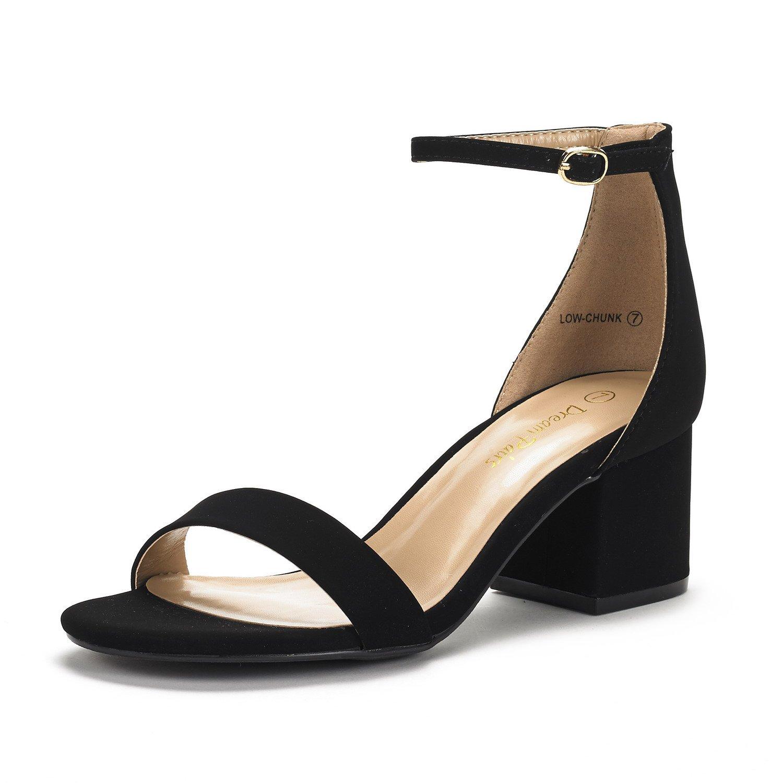 DREAM PAIRS Women's Low-Chunk Black Nubuck Low Heel Pump Sandals - 8.5 M US