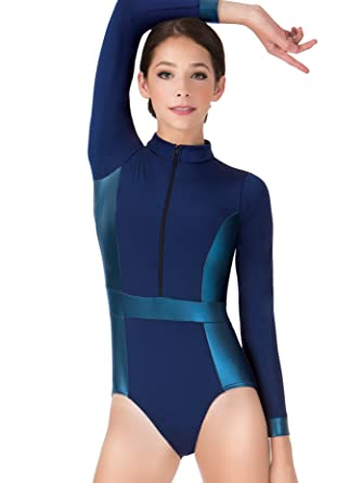 ea0a6eadb2a1 Amazon.com: Adult Matte Metallic Mock Neck Long Sleeve Leotard N7279:  Clothing