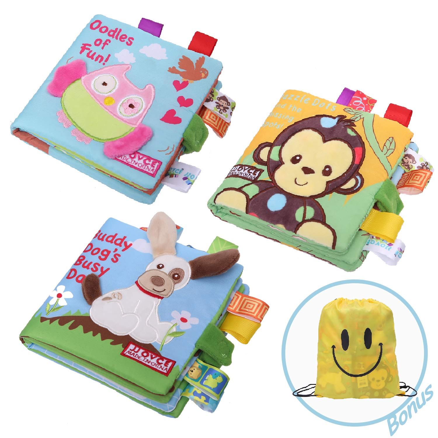 JCSHHUBS Soft Baby Cloth Activity Crinkle Book Set Fabric Non-Toxic Early Education Toys Shower Gifts for Boy & Girl Toddler, Infants, Kids (3 Pack)