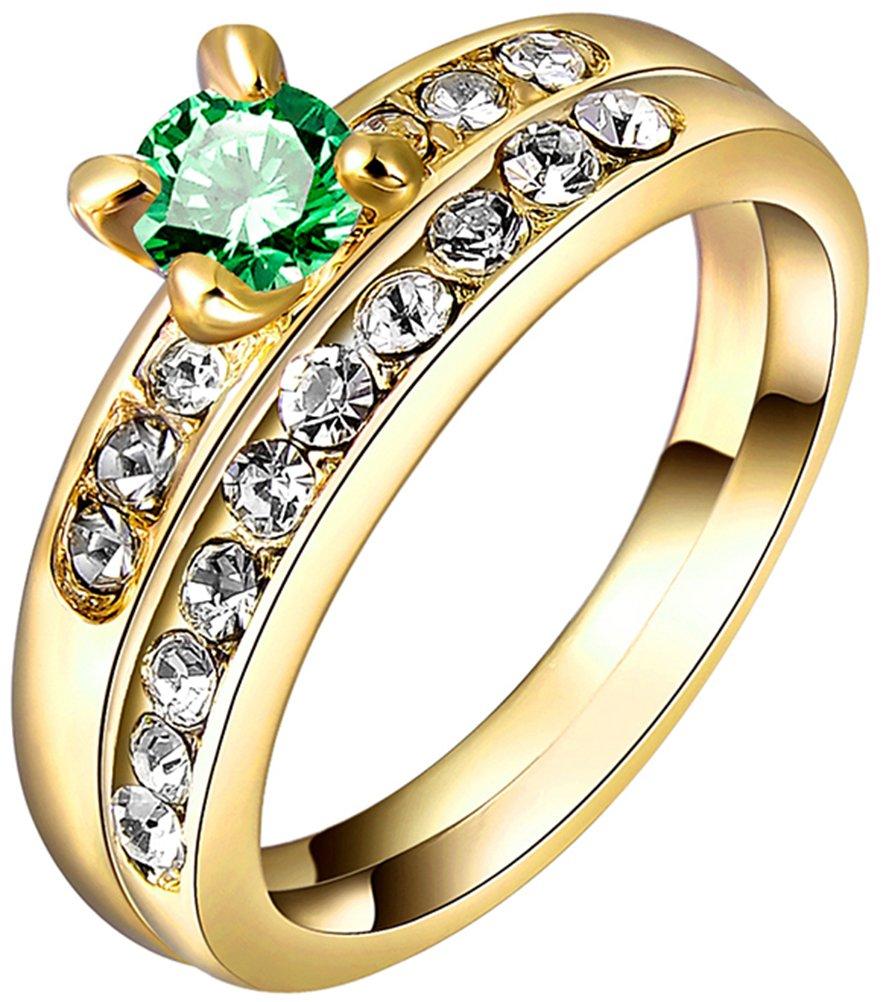 TEMEGO 18k Yellow Gold Cubic Zirconia Promise Engagement Wedding Band Rings Set,Size 7