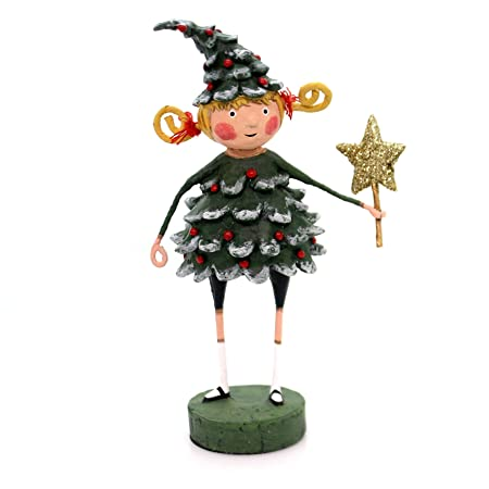 Lori Mitchell JOLLY HOLLY Polyresin Gold Star Tree 11056