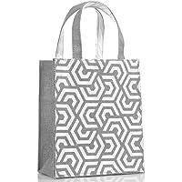 H&B Jute Bag - Gift Bag - Reusable Bags | Jute Bag for Lunch | Jute Lunch Bag | Tiffin Bag | Shopping Bag | Tote Bag | Handbag - Handcrafted, Hand Printed - Sustainable Designs (Hexa, Grey) - Totes