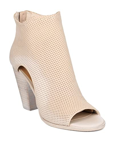 Women Nubuck Perforated Chunky Heel Bootie - Casual Versatile Dressy - Cutout Ankle Boot - Harem by