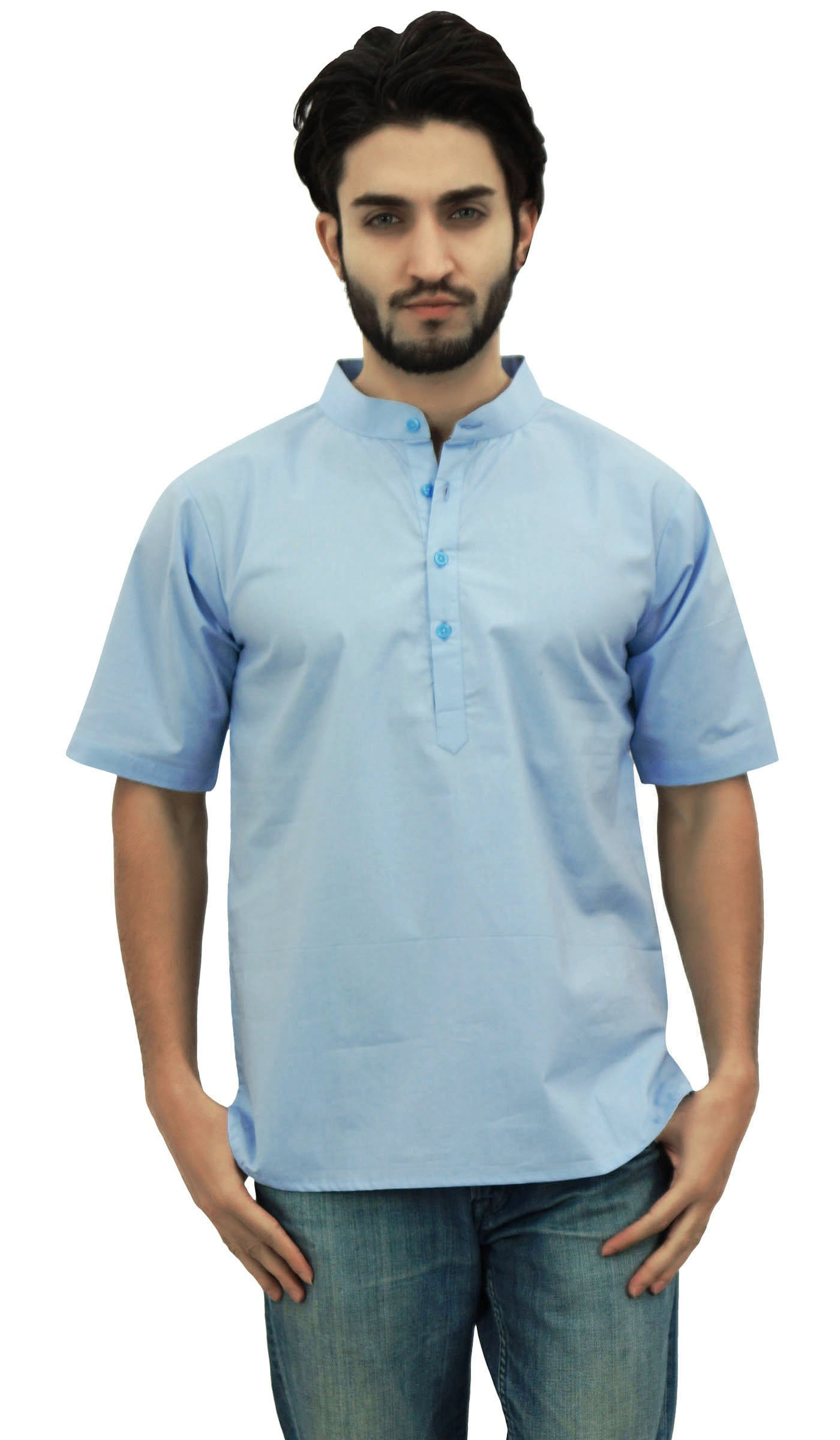 Atasi Men's Mandarin Collar Cotton Short Kurta Casual Ethnic Shirt-Small