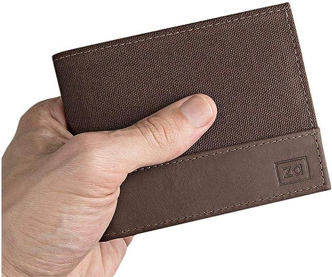 Carteira Masculina Couro e Tecido Porta Cartões Documento CNH Zalupe