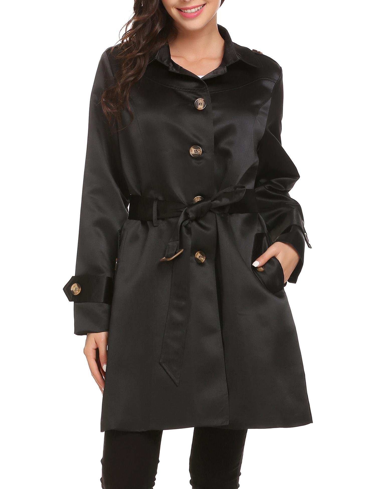 Mofavor Women's Belted Single Breasted Elegant Long Trench Coat With Pockets