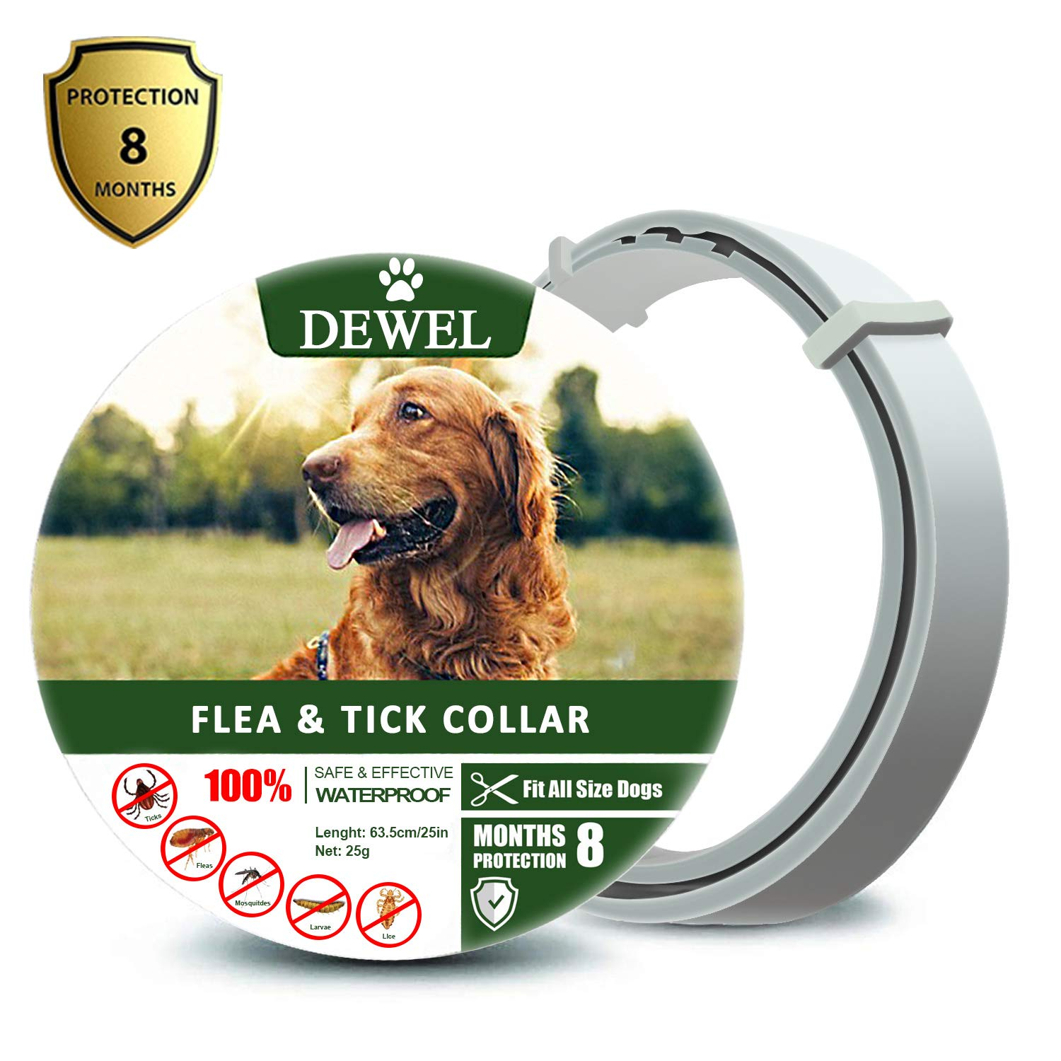 Fedciory Flea and Tick Prevention Collar for Dogs Up to 8 Months Protection Hypoallergenic and Waterproof Flea & Tick Control Adjustable Size Fits All Large Medium and Small Dog, Gray