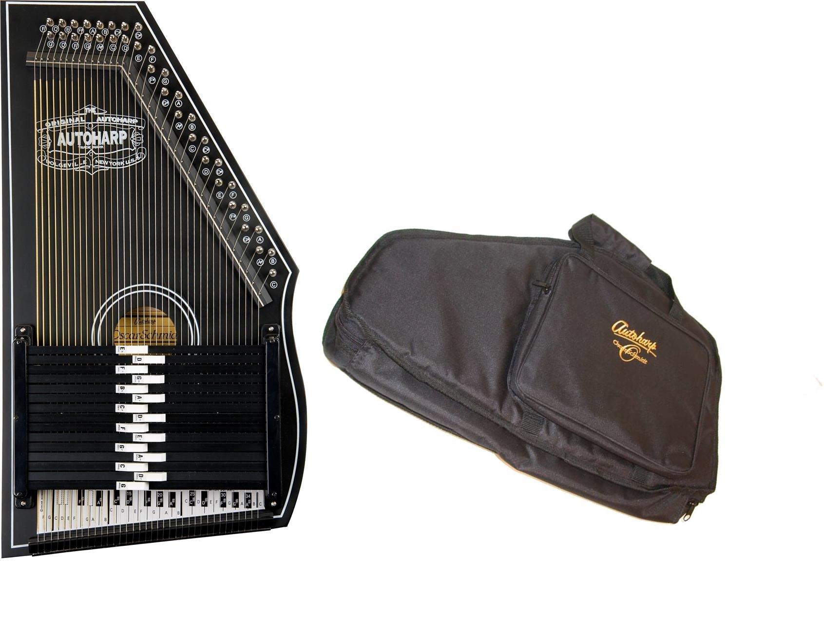 Oscar Schmidt 1930's Original Design Autoharp & Gig Bag, 15 Bar, Black, OS73B-AC445