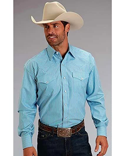 10d2fa147e Stetson Men's Striped Long Sleeve Western Shirt at Amazon Men's ...