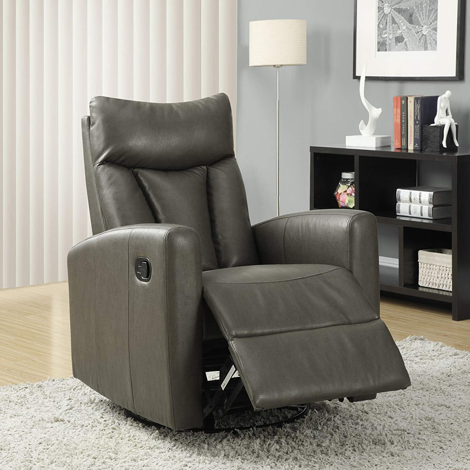 Monarch Specialties Recliner Chair - Single Leather Sofa Home Theatre Seating - Rocker Recliner, Swivel and Glide Base (Charcoal Gray) by Monarch Specialties