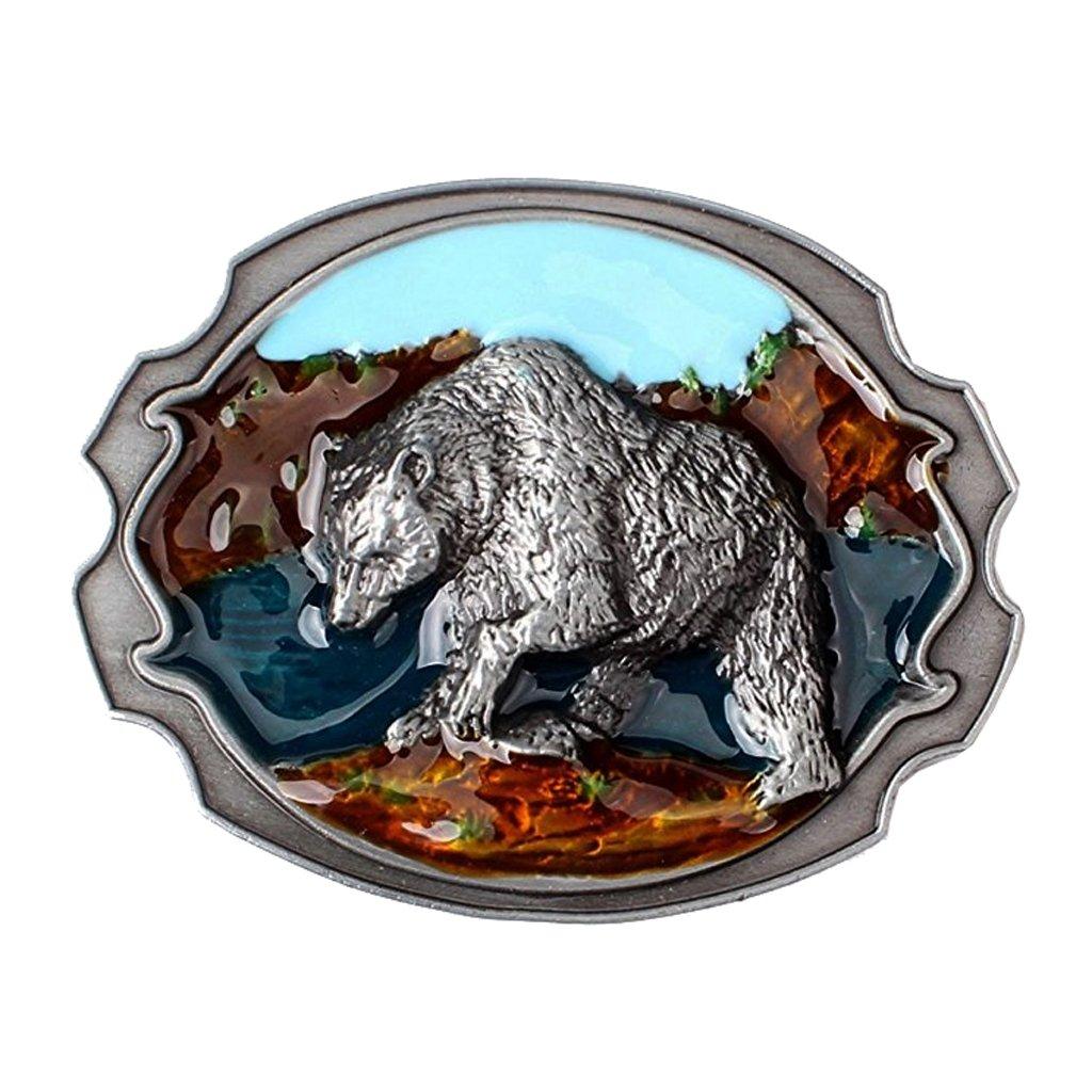 Baosity Vintage Rodeo 3D Bear Shape Metal Belt Buckle Western Cowboy Native American