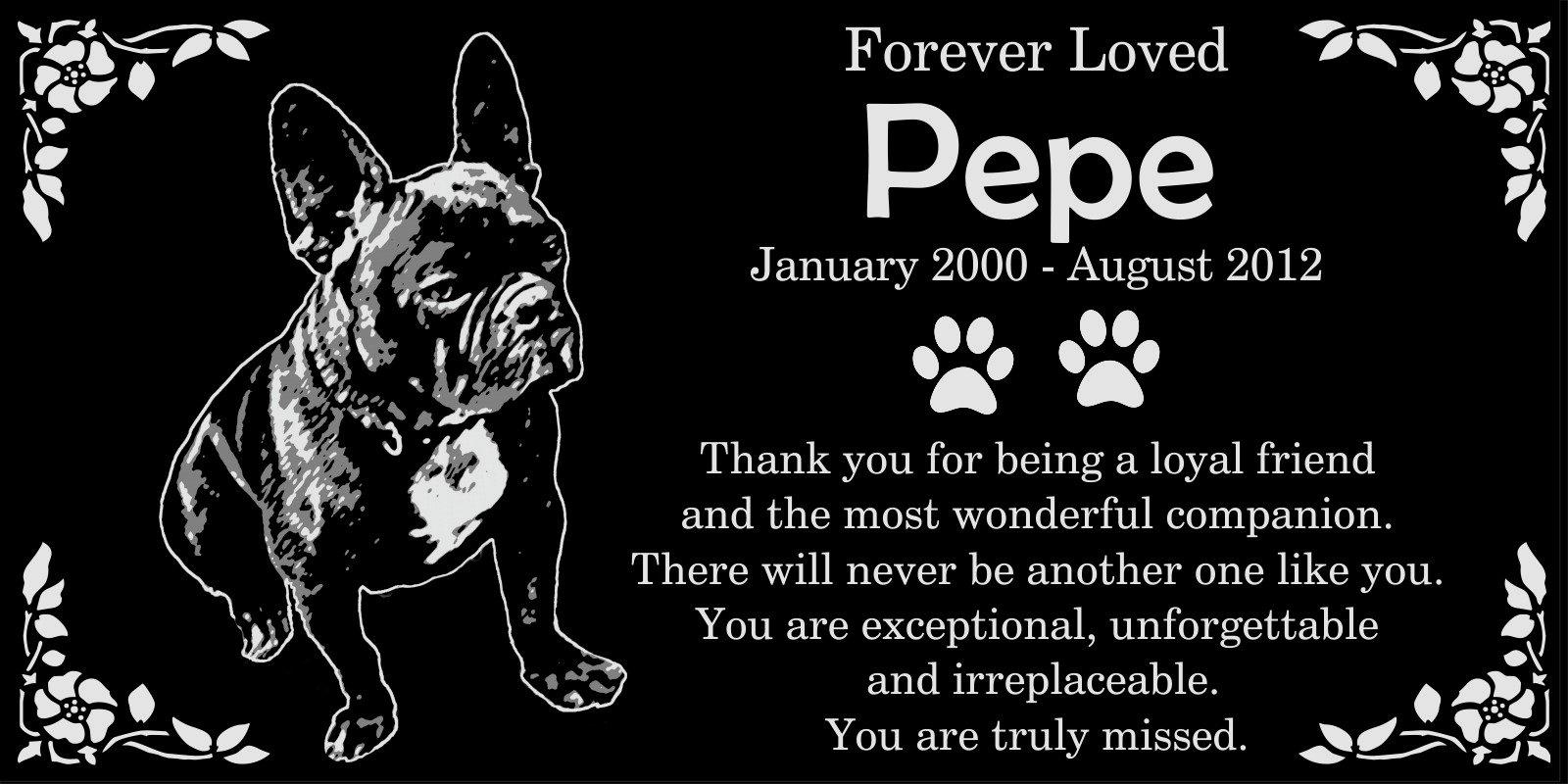 Personalized French Bulldog Pet Memorial 12''x6'' Engraved Black Granite Grave Marker Head Stone Plaque PEP1