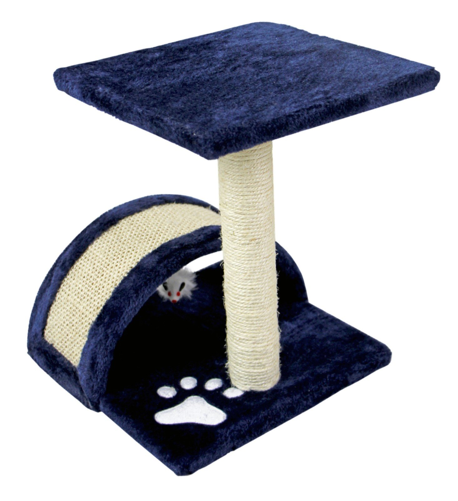 Hiding Cat Tree Sisal Scratching Post Furniture Playhouse Pet Bed Kitten Toy Cat Tower Condo for Kittens, Small, Navy Blue