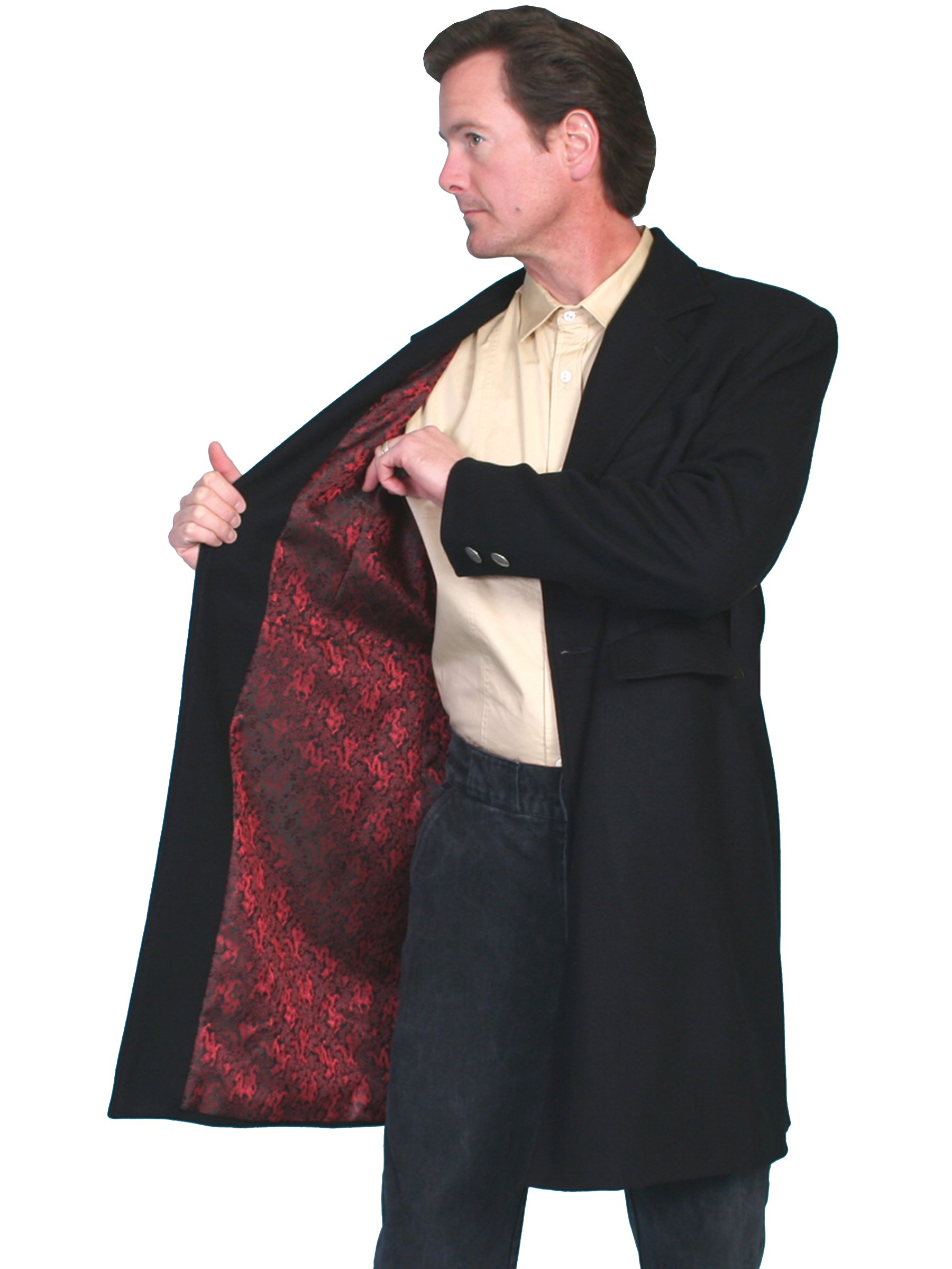 WahMaker by Scully Men's Old West Dragon Lining Frock Coat Black 40
