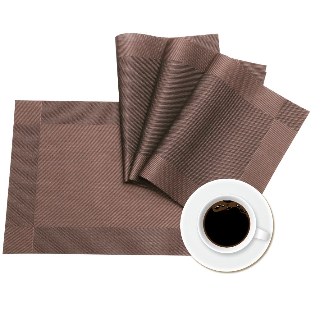 Weshine Portable Stain Resistant Textilene Placemats for Dining Table, Sets of 4 ( Coffee) by Weshine