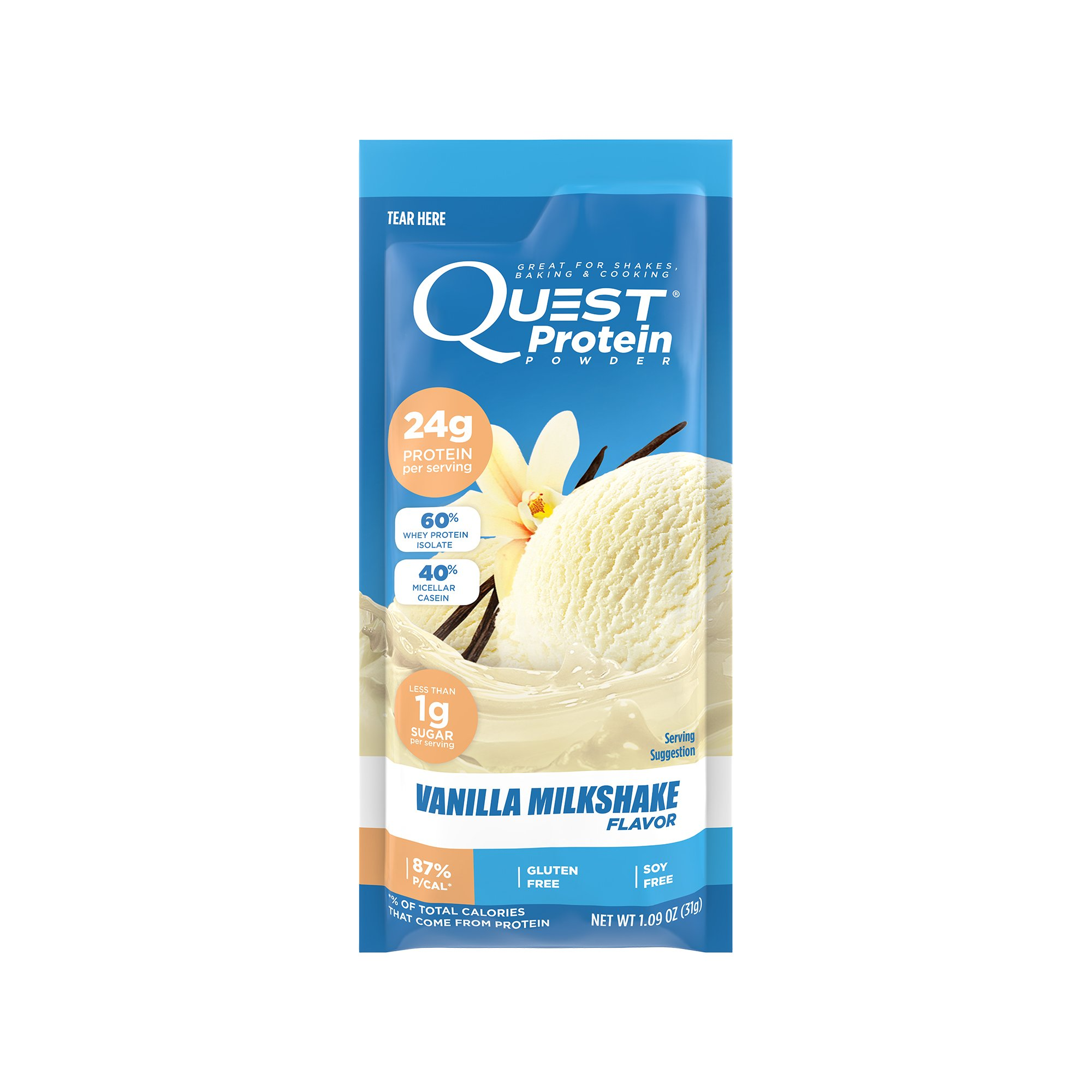 Quest Nutrition Protein Powder, Vanilla Milkshake, 22g Protein, 3g Net Carbs, 88% P/Cals, 0.99oz Packet, 12 Count, High Protein, Low Carb, Gluten Free, Soy Free, Packaging May Vary