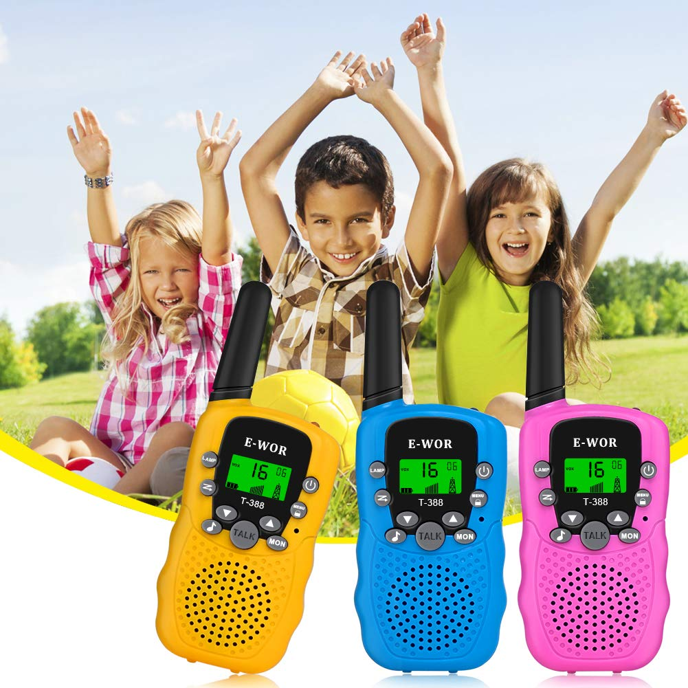 E-wor Walkie Talkies for Kids,22 Channels FRS/GMRS UHF Kids Walkie Talkies, 2 Way Radios 3 Miles Walkie Talkies Kids Toys with Flashlight by EWOR, 3 Pack by E-wor (Image #2)
