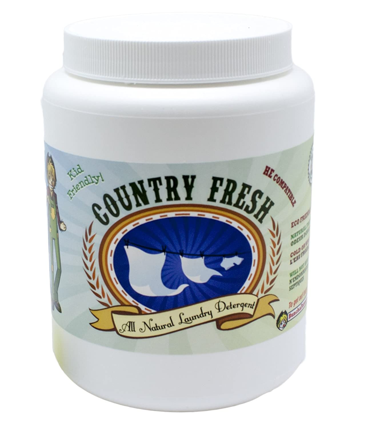 BunchaFarmers Country Fresh All Natural Child-Safe Laundry Detergent (Lemon Scented, Large, 600 Grams) Bunch A Farmers Inc. BAF015