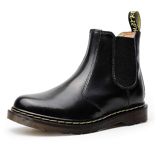 Botas Chelsea para Hombre Mujer Botines de Cuero Invierno Zapatos: Amazon.es: Zapatos y complementos