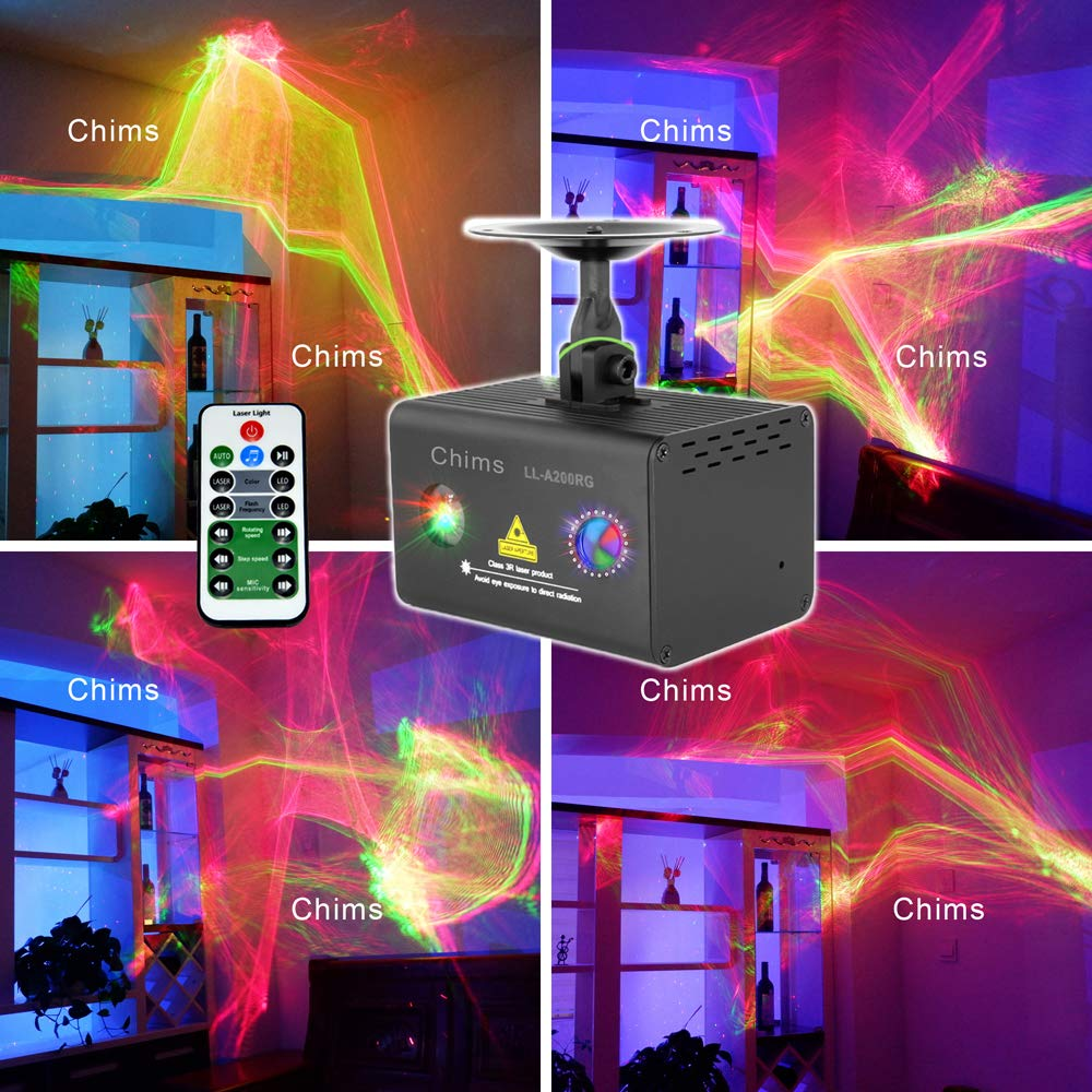 Chims DJ Party Laser Light LL-A200RG Aurora Laser Red Green Colorful Ripple Galaxy Wavy LED Stage Lighting Projector System DJ Dance Xmas Christmas Decoration Festival Family Holiday (RG Aurora)