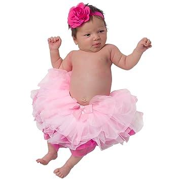 Silver Lilly Girls Newborn Photo Prop Tutu Skirt Headband Set Pink
