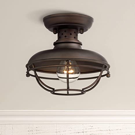 Franklin Park Rustic Outdoor Ceiling Light Fixture Bronze  Caged For Exterior Entryway Porch Franklin Iron Works Close To Ceiling Light Fixtures